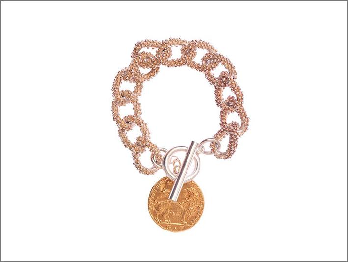 Bracciale in argento annerito e placcato oro