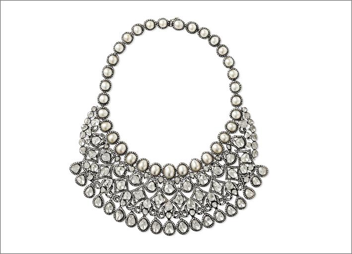 Collana in oro 18 carati, argento sterling, diamanti e perle