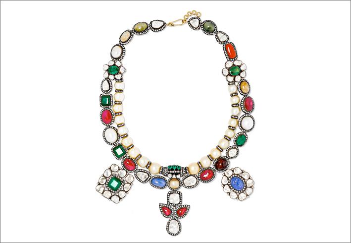 Collana in argento, smeraldi, rubini, zaffiri
