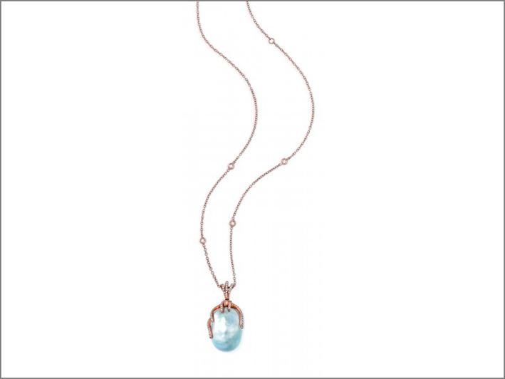 Girocollo Oceania in oro con pendente, perla, diamanti