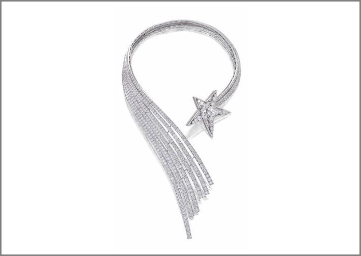 Collana Stella cometa di Chanel, oro bianco e diamanti