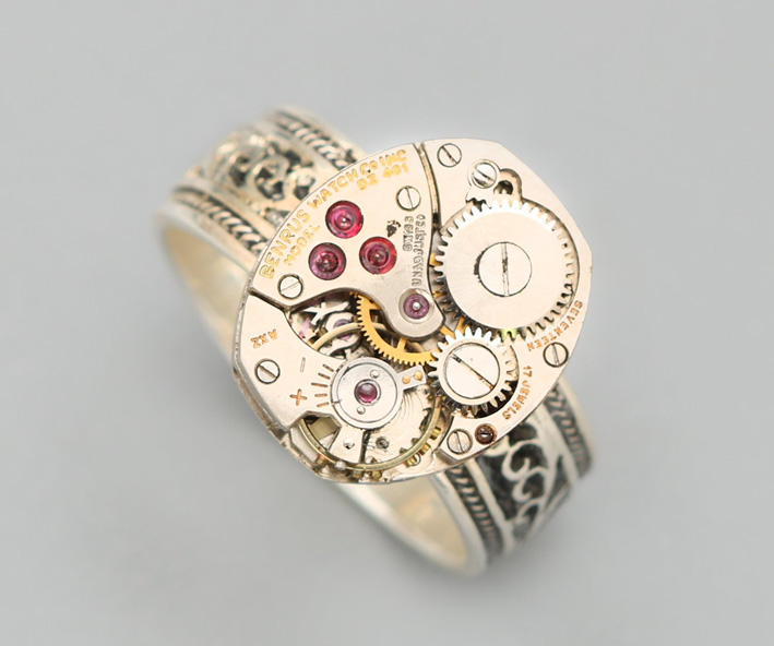 Designs Bloom, anello con meccanismo di orologio