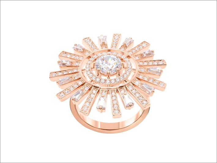 Anello placcato oro rosa della collezione Sunshine di Swarovski