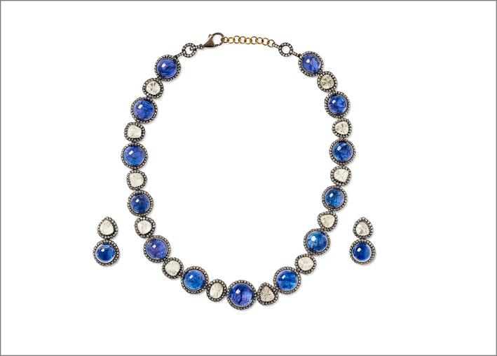 Set di collana e orecchini in argento, diamanti e tanzanite