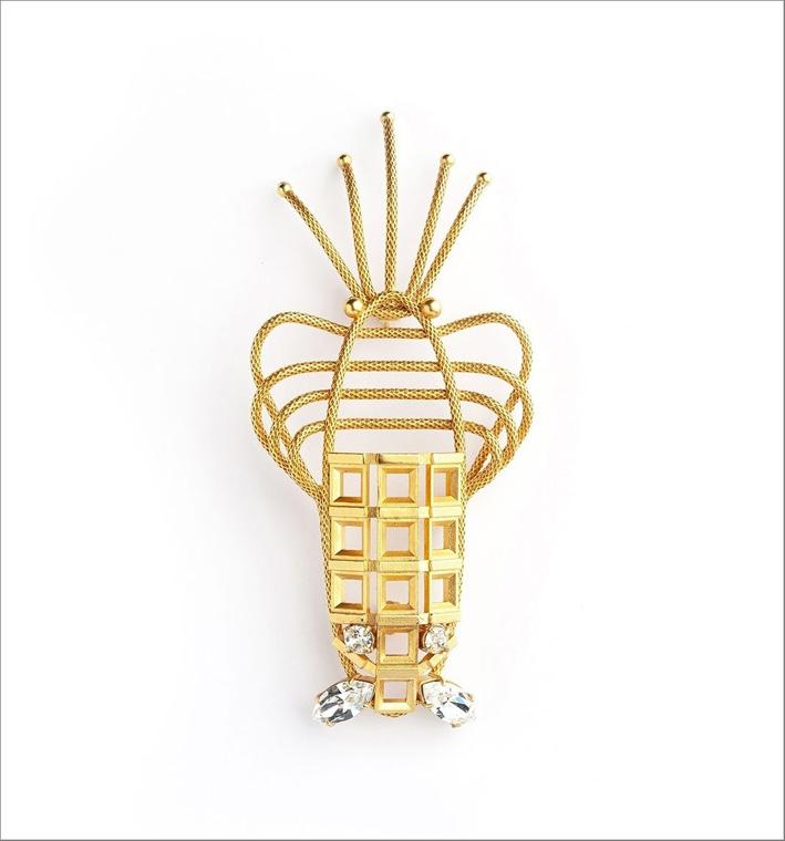 Spilla aragosta con diamanti Swarovski