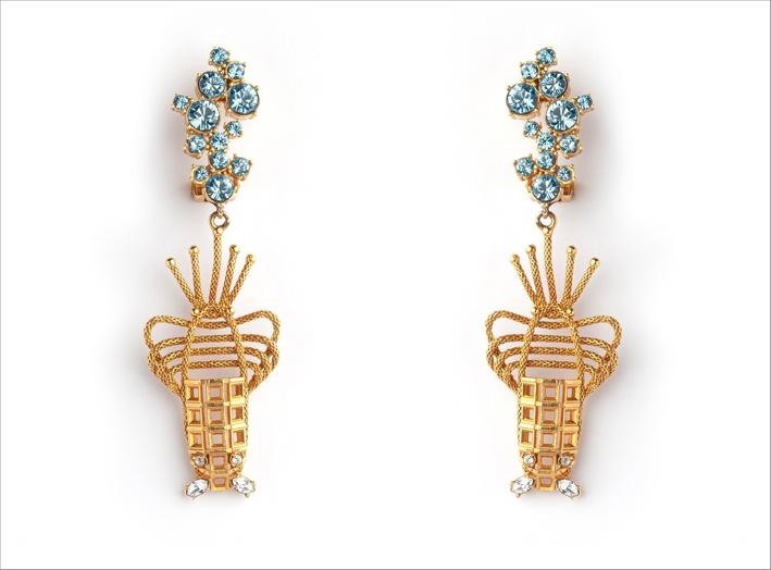 Orecchini con acquamarina simulata, diamanti Swarovski