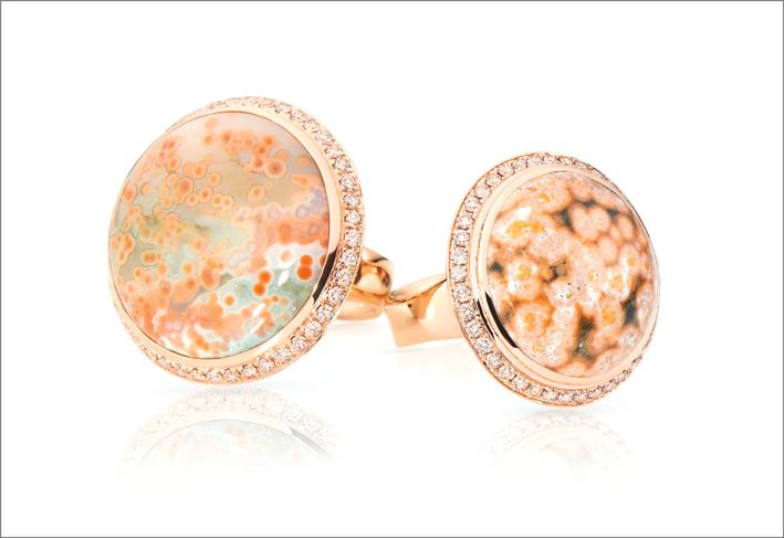 Anelli in oro rosa, diamanti, diaspro