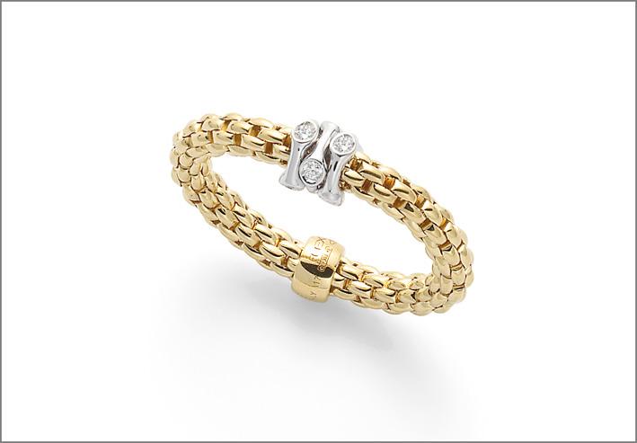 Anello in oro giallo maglia Flex'it con rondella in oro bianco e diamanti