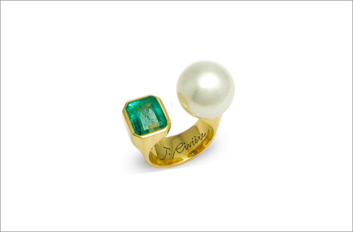Anello moi et toi con perla e smeraldo