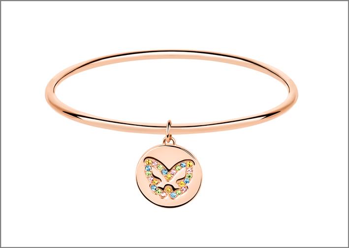 Bracciale in acciaio pvd rosa e ciondolo farfalla