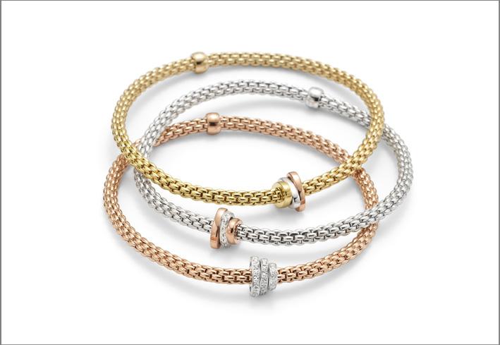 Bracciale con maglia Flex'it nei tre colori dell'oro