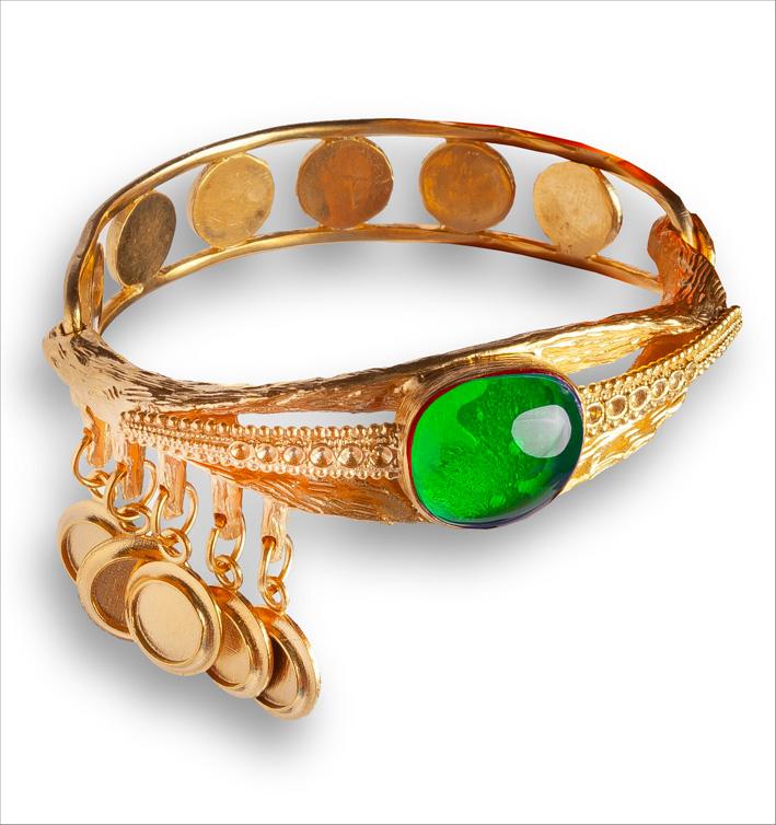 Bracciale con smeraldo simulato cabochon