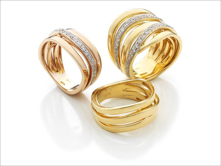 Anelli in oro giallo e rosa con diamanti