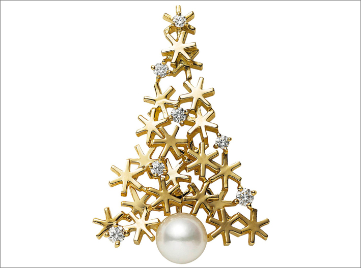 Spilla albero di Natale di Mikimoto, in oro e perla Akoya
