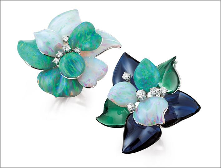 Orecchini con opali e diamanti di Paolo Piovan