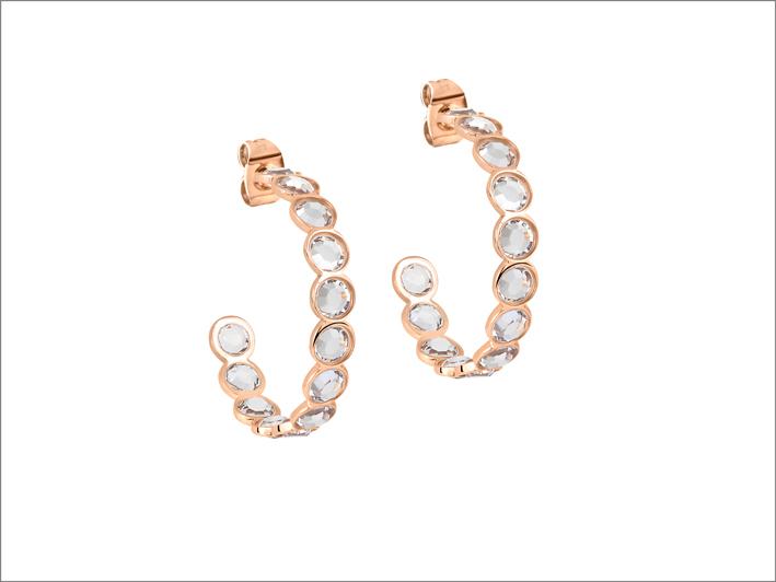 Morellato, orecchini in pvd rosa e cristalli