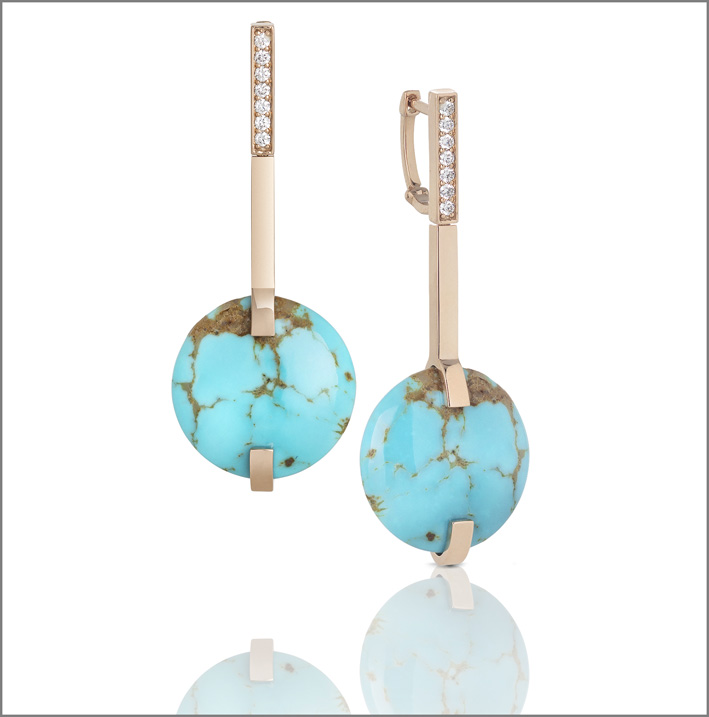 Roberto Coin, rose gold earrings with turquoise and diamonds