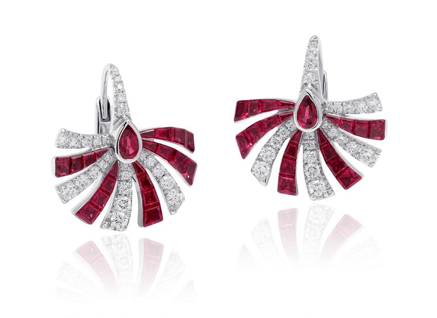 Stenzhorn, orecchini con diamanti e rubini