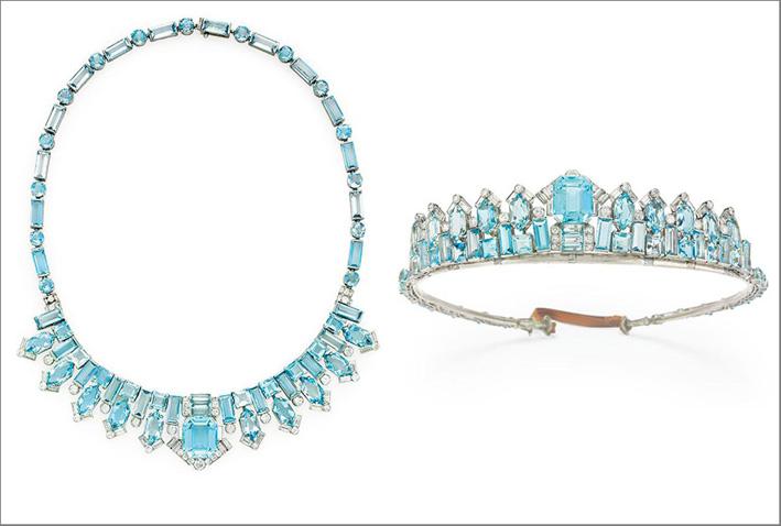 Collana con acquamarine di Cartier trasformabile in tiara