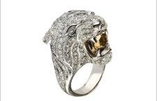 Anello Tigre in oro bianco e quarzo fumé