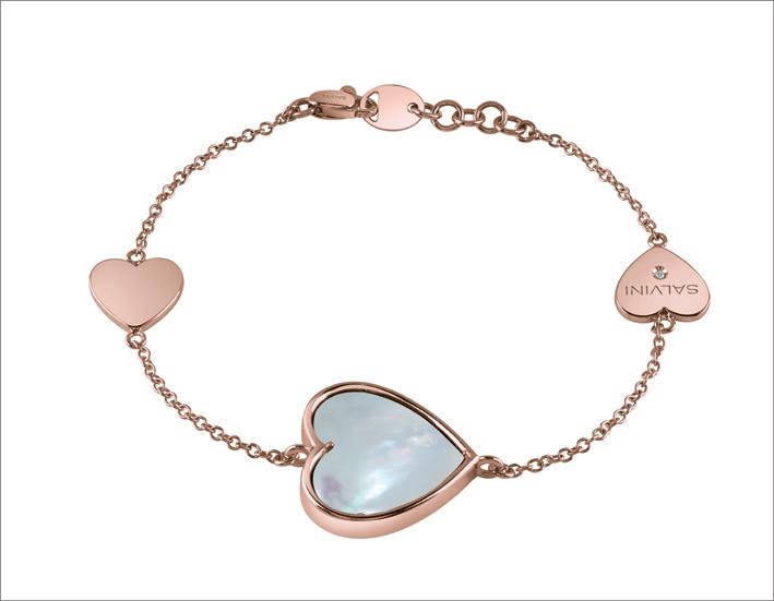Bracciale in oro rosa con madreperla e dettaglio in diamante