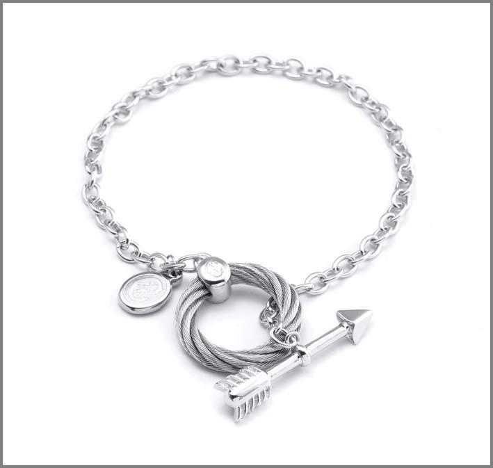 Bracciale in argento e acciaio