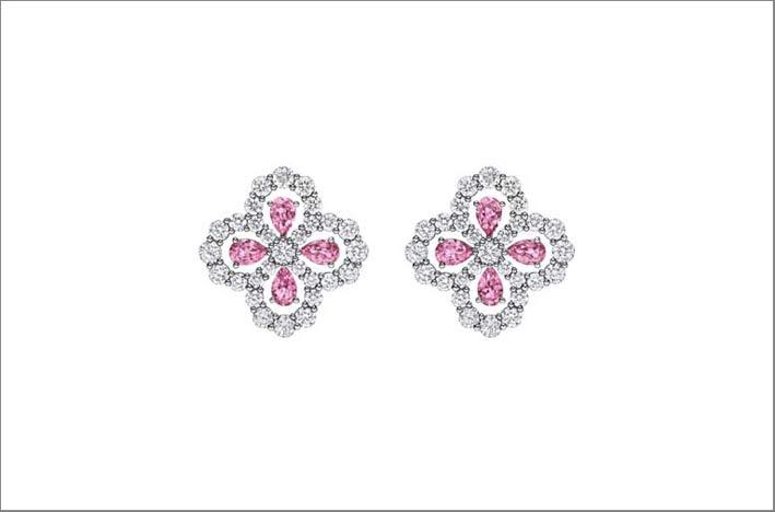 Harry Winston, orecchini con diamanti e zaffiri rosa