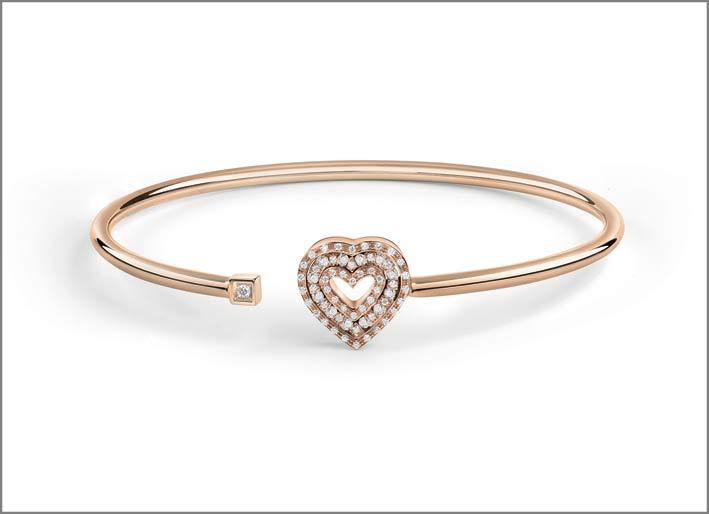 Bracciale a forma di cuore in oro rosa, diamanti