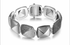 Bracciale in argento con galvanica rutenio e cubic zirconia