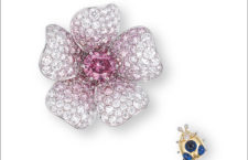 Pendente per collana o spilla con diamante rosa vivido e coccinella con zaffiro cabochon di Gimel