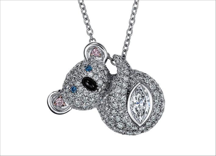 Ciondolo Koala con pavé di diamanti e diamante marquise