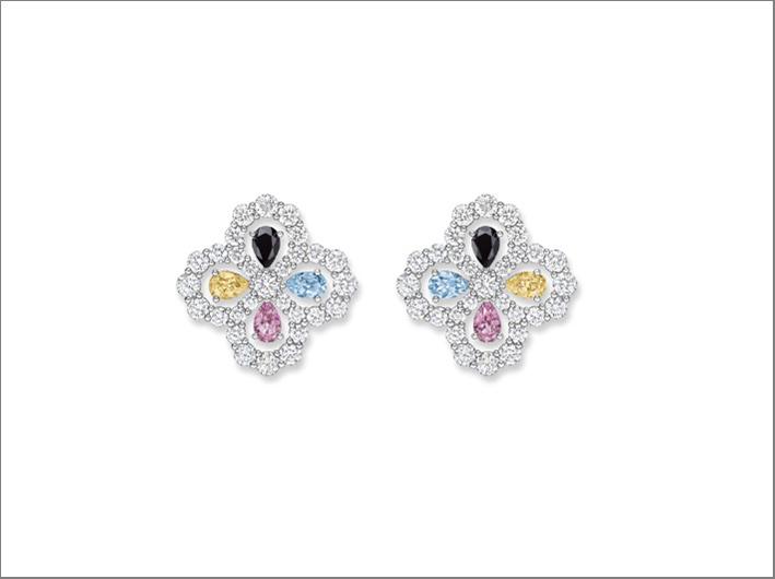 Harry Winston, orecchini con diamanti, spinelli neri, zaffiri, acquamarina