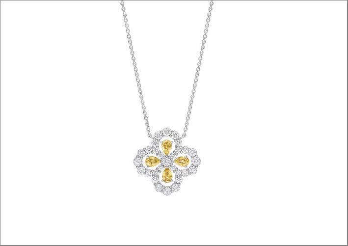 Pendente con zaffiri gialli e diamanti