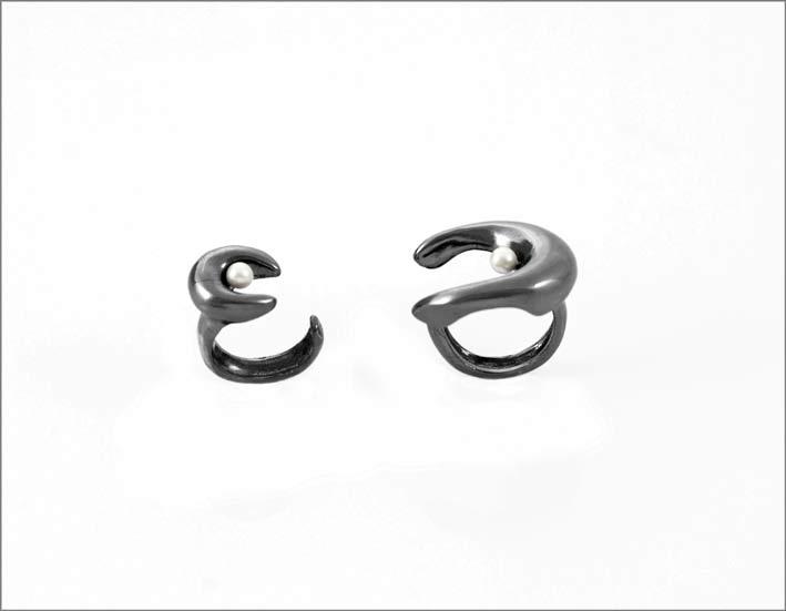 Doppio anello rodiato nero