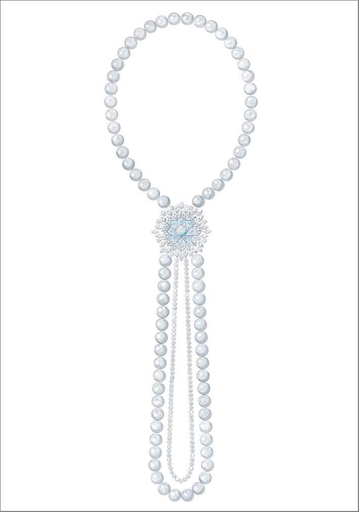 Sautoir com opali bianchi, perle, diamanti