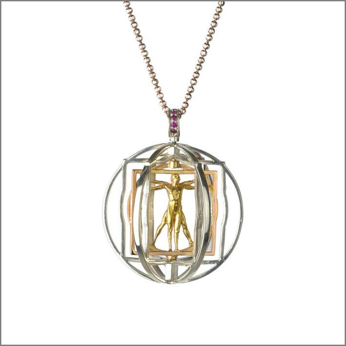 Pendente Vitruviux in argento, oro