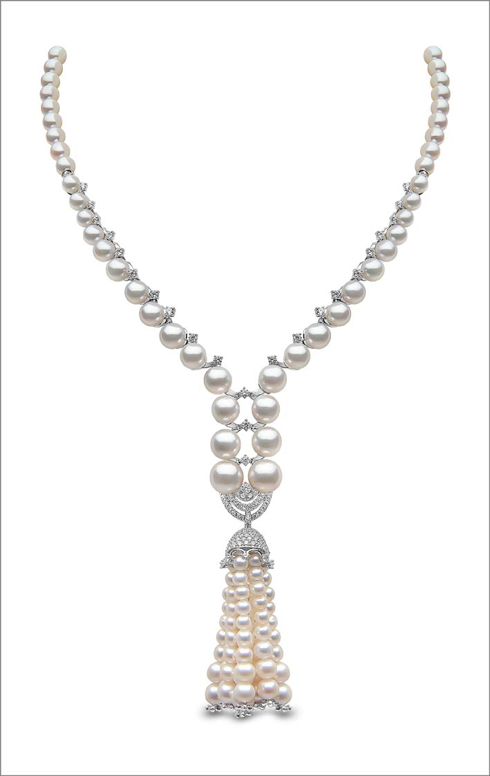 9 x 3.5mm Akoya and Freshwater pearls, 1.76cts diamonds, set in 18ct white gold. Price on application