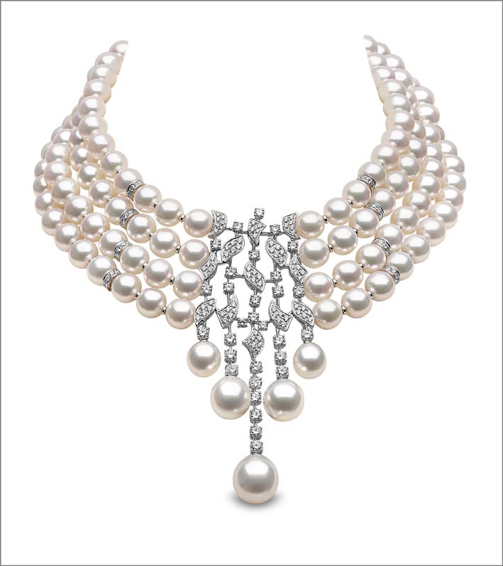 12.4 x 8mm South Sea and Akoya pearls, 6.49cts diamonds, set in 18ct white gold. Price on application