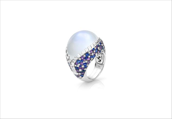 Anello Zip con pietra di luna, zaffiri, diamanti
