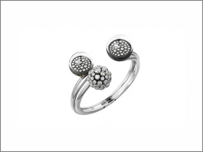 Bracciale in oro bianco con cristallo di rocca e diamanti su montatura vibrante, metaquarzite con inclusioni di pirite