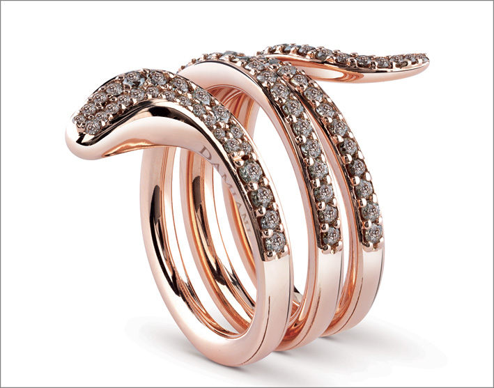 Damiani, anello Eden in oro rosa con diamanti brown