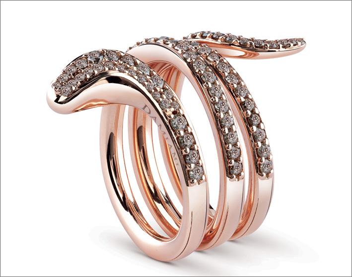 Damiani, anello Eden in oro rosa con diamanti brown