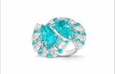 Anello con diamanti e tormaline Paraiba