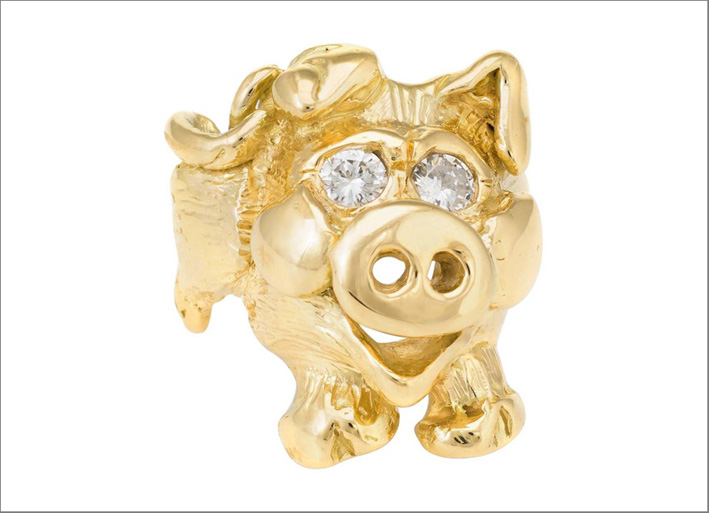 Happy Pig, anello in oro giallo e diamanti