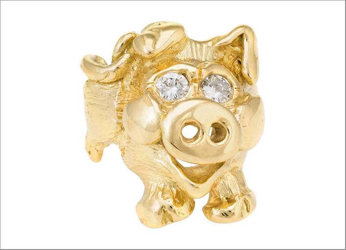 Happy Pig, anello in oro giallo e diamanti