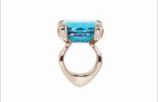 Ring Einsteiner [una pietra] in oro bianco 750 e acquamarina, diamanti taglio brillante