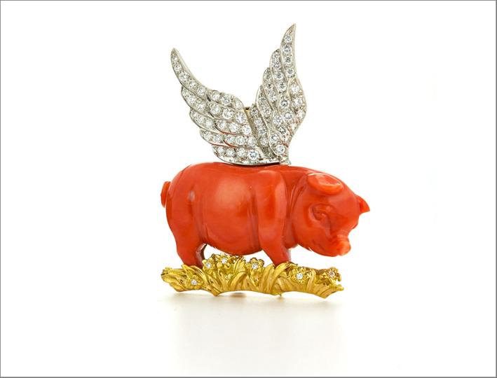 David Webb, spilla Winged Pig con oro e diamanti