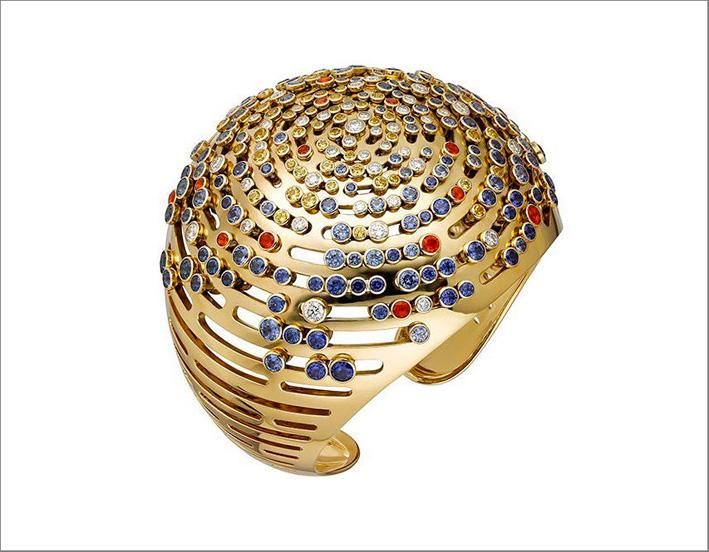 Bracciale in oro con diamanti, rubini e zaffiri