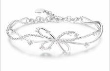 Rosato, bracciale in argento con fiocco