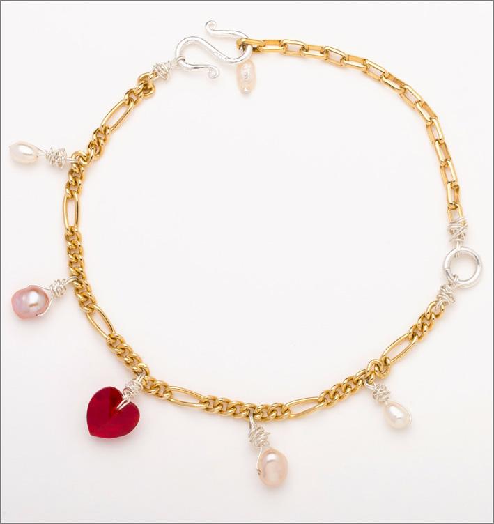 Bracciale o cavigliera in argento placcato oro, cristalli Swarovski
